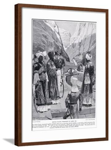 British Taking Possession of Aden, Illustration from 'Hutchinson's Story of the British Nation'-Richard Caton Woodville-Framed Art Print