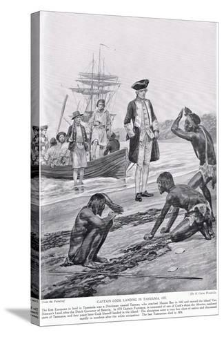 Captain Cook Landing in Tasmania, 1777, Illustration from 'Hutchinson's Story of the British?-Richard Caton Woodville-Stretched Canvas Print
