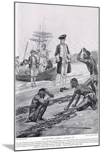 Captain Cook Landing in Tasmania, 1777, Illustration from 'Hutchinson's Story of the British?-Richard Caton Woodville-Mounted Giclee Print