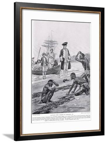 Captain Cook Landing in Tasmania, 1777, Illustration from 'Hutchinson's Story of the British?-Richard Caton Woodville-Framed Art Print