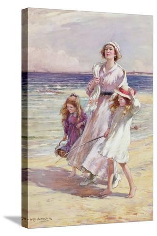 A Breezy Day at the Seaside-William Kay Blacklock-Stretched Canvas Print