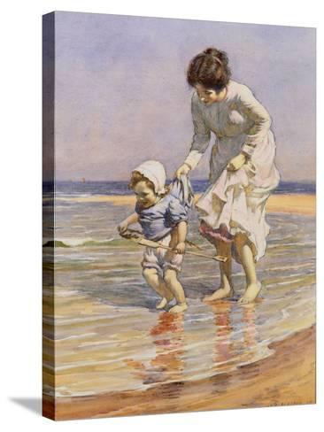Paddling, 1915-William Kay Blacklock-Stretched Canvas Print