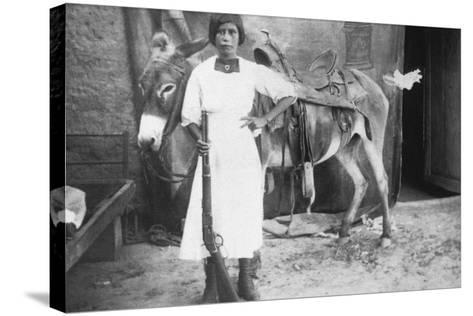 Pueblo Girl and Burro, 1900-American Photographer-Stretched Canvas Print