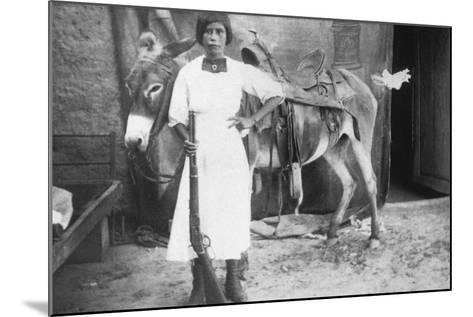 Pueblo Girl and Burro, 1900-American Photographer-Mounted Photographic Print