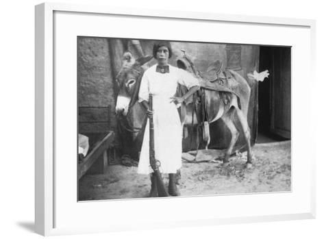 Pueblo Girl and Burro, 1900-American Photographer-Framed Art Print