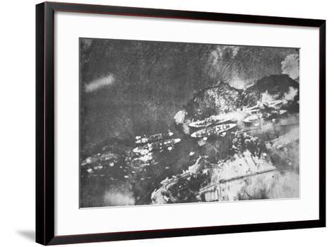 U.S. Warships on Battleship Row, Pearl Harbor, 7th December, 1941-Japanese Photographer-Framed Art Print