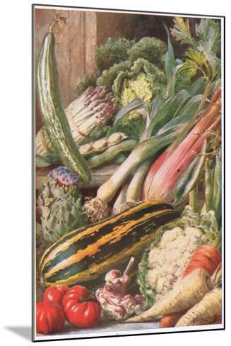 Garden Vegetables, Illustration from 'Garden Ways and Garden Days'-Louis Fairfax Muckley-Mounted Giclee Print