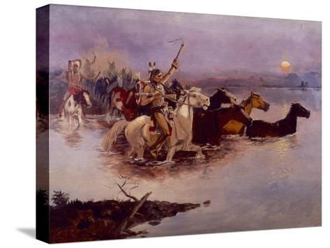 Crossing the River Charles-Charles Marion Russell-Stretched Canvas Print