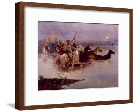 Crossing the River Charles-Charles Marion Russell-Framed Art Print