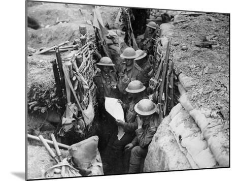 Reading a Newspaper in the Trenches, 1916-17-English Photographer-Mounted Photographic Print