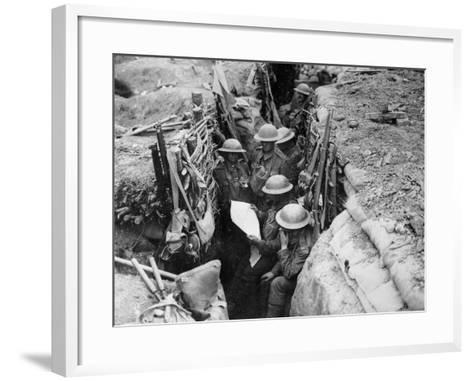 Reading a Newspaper in the Trenches, 1916-17-English Photographer-Framed Art Print
