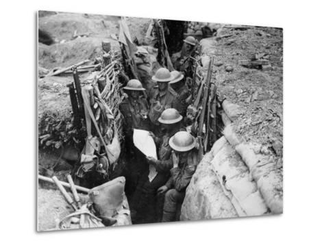 Reading a Newspaper in the Trenches, 1916-17-English Photographer-Metal Print