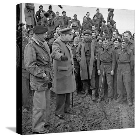 Sir Winston Churchill and Field Marshall Bernard Montgomery Visiting Men of the 79th Armoured…-English Photographer-Stretched Canvas Print