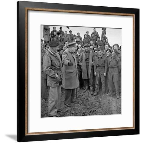 Sir Winston Churchill and Field Marshall Bernard Montgomery Visiting Men of the 79th Armoured…-English Photographer-Framed Art Print