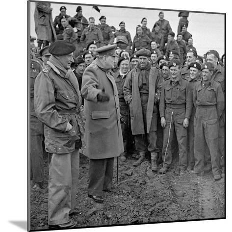 Sir Winston Churchill and Field Marshall Bernard Montgomery Visiting Men of the 79th Armoured…-English Photographer-Mounted Photographic Print