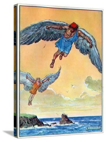 Daedalus and Icarus, from 'The Children's Hour: Stories from the Classics', Published by Waverley…-Charles Edmund Brock-Stretched Canvas Print