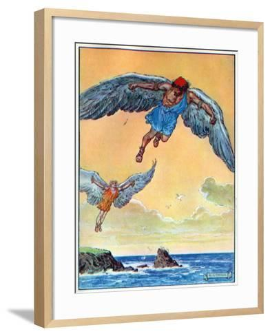 Daedalus and Icarus, from 'The Children's Hour: Stories from the Classics', Published by Waverley…-Charles Edmund Brock-Framed Art Print