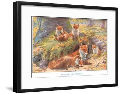 Vixen and Her Children, Illustration from 'Country Ways and Country Days'-Louis Fairfax Muckley-Framed Art Print