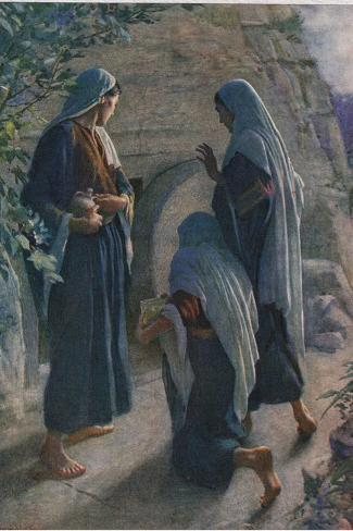 The Women at the Sepulchre, Illustration from 'Women of the Bible', Published by the Religious?-Harold Copping-Stretched Canvas Print