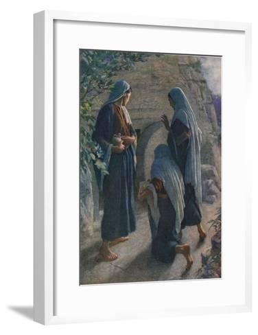 The Women at the Sepulchre, Illustration from 'Women of the Bible', Published by the Religious?-Harold Copping-Framed Art Print