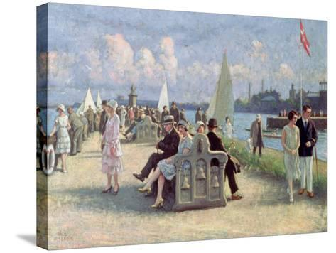 People on a Promenade-Paul Fischer-Stretched Canvas Print
