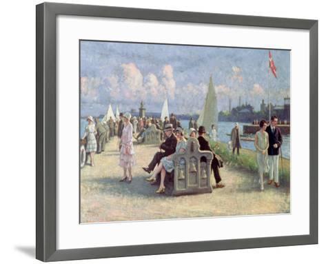People on a Promenade-Paul Fischer-Framed Art Print