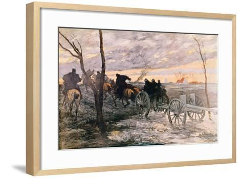 Sunset in the Valley of Yser: a 75 Cannon Being Wheeled to a Strategic Position, c.1914-Georges Bertin Scott-Framed Art Print