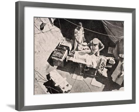 Field Surgery on Gallipoli Peninsula, Turkey, 1915, from 'The War Illustrated Album Deluxe',…-English School-Framed Art Print