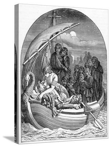 The Dying King Arthur Is Carried Away to Avalon on a Magical Ship with Three Queens, 1901- Dalziel Brothers-Stretched Canvas Print