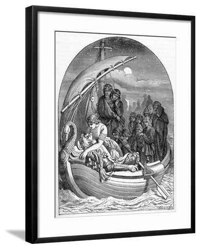 The Dying King Arthur Is Carried Away to Avalon on a Magical Ship with Three Queens, 1901- Dalziel Brothers-Framed Art Print