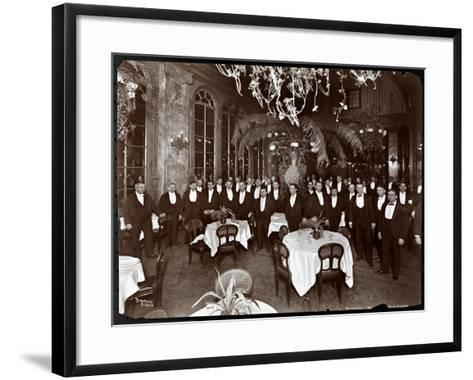 Waiters in the Palm Court at Sherry's Restaurant, New York, 1902-Byron Company-Framed Art Print