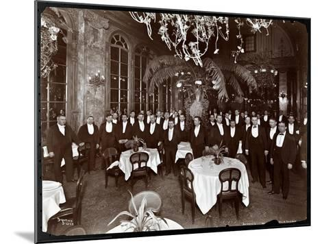 Waiters in the Palm Court at Sherry's Restaurant, New York, 1902-Byron Company-Mounted Giclee Print