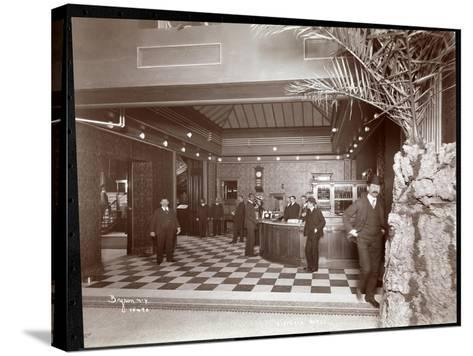 The Lobby and Registration Desk at the Hotel Victoria, 1900 or 1901-Byron Company-Stretched Canvas Print