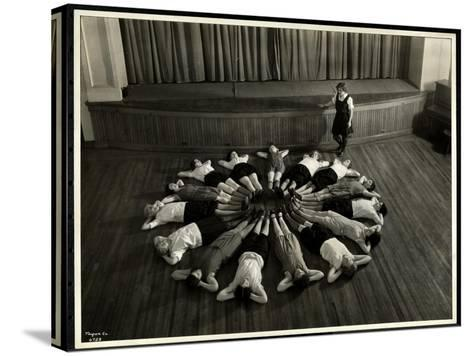 Young Blind Women Lying in a Starburst Pattern on the Floor of the Gymnasium at the New York…-Byron Company-Stretched Canvas Print