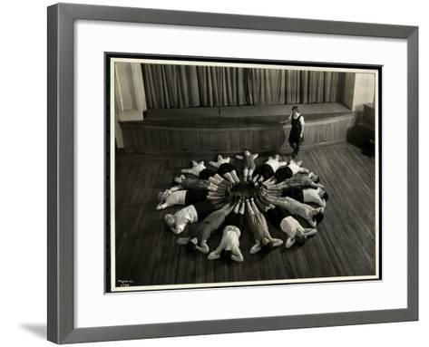 Young Blind Women Lying in a Starburst Pattern on the Floor of the Gymnasium at the New York…-Byron Company-Framed Art Print