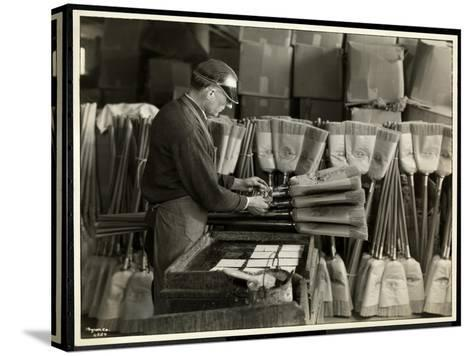 Blind Man Labeling Brooms at the Bourne Memorial Building, New York, 1935-Byron Company-Stretched Canvas Print