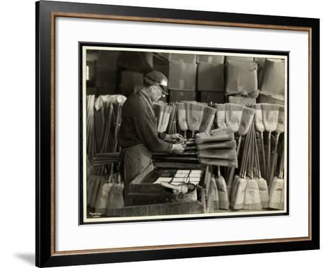 Blind Man Labeling Brooms at the Bourne Memorial Building, New York, 1935-Byron Company-Framed Art Print