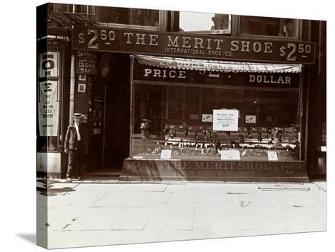 A Storefront of the International Shoe Co., New York, 1905-Byron Company-Stretched Canvas Print