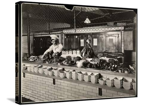 Display of Cold Meat in the Kitchen of the Commodore Hotel, 1919-Byron Company-Stretched Canvas Print
