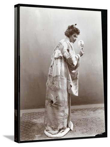 A Woman Modeling a Japanese Kimono, New York, 1904-Byron Company-Stretched Canvas Print