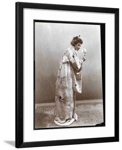 A Woman Modeling a Japanese Kimono, New York, 1904-Byron Company-Framed Art Print