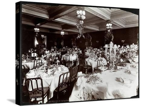 Tables Set for the Electric Club's Banquet at Hotel Delmonico, 1902-Byron Company-Stretched Canvas Print