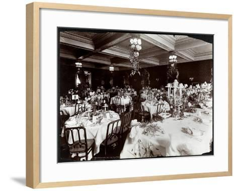 Tables Set for the Electric Club's Banquet at Hotel Delmonico, 1902-Byron Company-Framed Art Print