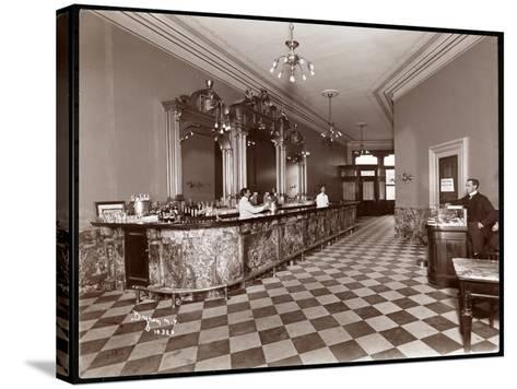 Bar at Gilsey House, Broadway and 29th Street, New York, 1900 or 1901-Byron Company-Stretched Canvas Print
