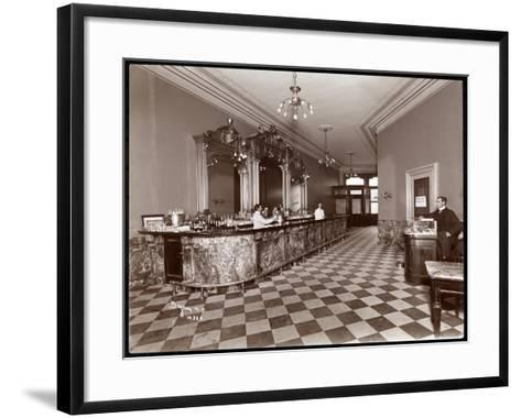 Bar at Gilsey House, Broadway and 29th Street, New York, 1900 or 1901-Byron Company-Framed Art Print