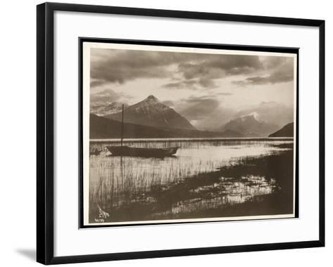 View of a Lake and a Boat During the Construction of the Panama Canal, 1912 or 1913-Byron Company-Framed Art Print