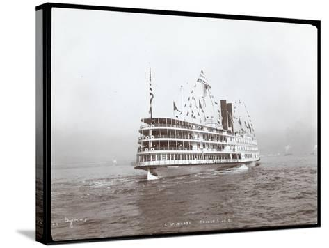 """View of the Steamship """"C.W. Morse"""", Presumably on the Hudson River Near West Point Upon the Visit…-Byron Company-Stretched Canvas Print"""