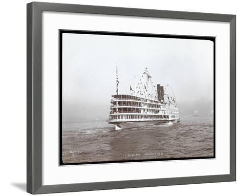 """View of the Steamship """"C.W. Morse"""", Presumably on the Hudson River Near West Point Upon the Visit…-Byron Company-Framed Art Print"""