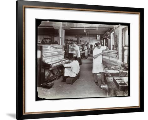 Men Working in the Hardman, Peck and Co. Piano Factory, New York, 1907-Byron Company-Framed Art Print