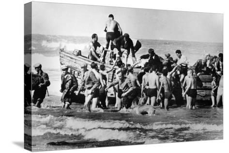 Illegal Jewish Immigrants Helped Ashore When Arriving Unseen by the British Navy on the…--Stretched Canvas Print